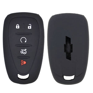Silicone Rubber 5 Buttons Car Key Case Cover Skin Protector For Chevrolet Malibu, Cruze [SKU: CHEVS5A]