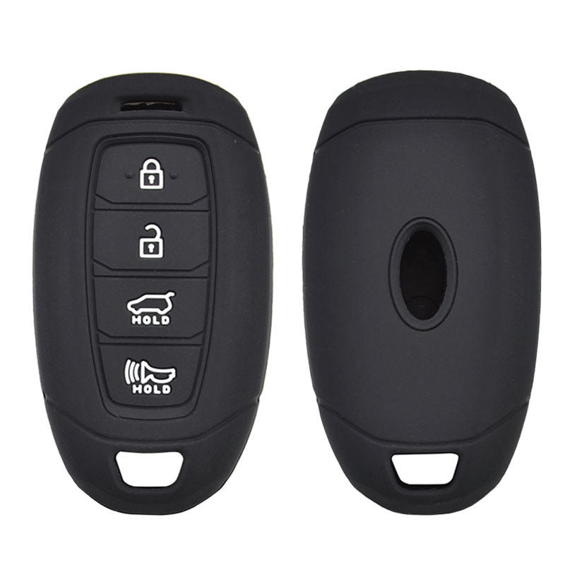 Silicone 4 Button Protective Rubber Smart Key Keyless Entry Fob Remote Case Cover Jacket Skin Glove for Hyundai [SKU: HYUS4E]