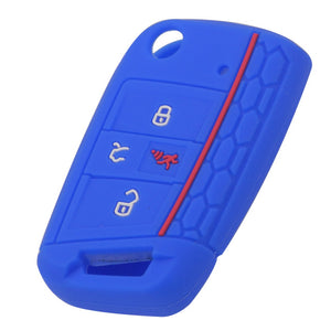 Silicone 4 Button 'Flip'/Switchblade Key Fob Cover Case Skin for VW Volkswagen Golf Skoda Octavia [SKU: VWS4A]