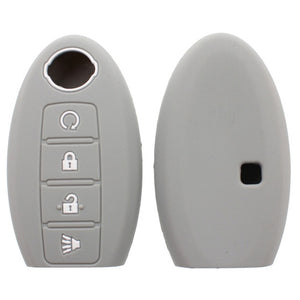 Silicone  Protective Rubber 4 Button w/ Remote Start Smart Key Fob Remote Case Cover Jacket Skin Glove For Nissan [SKU: NISS4E]
