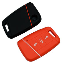 "Load image into Gallery viewer, Silicone Rubber 3 Button 'Smart"" Proximity Remote Key Fob Cover Case For Volkswagen VW [SKU: VWS3B]"