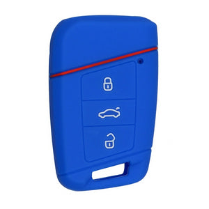 "Silicone Rubber 3 Button 'Smart"" Proximity Remote Key Fob Cover Case For Volkswagen VW [SKU: VWS3B]"