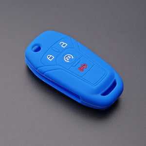 "SILICONE RUBBER 4 BUTTON ""FLIP KEY"" FOB COVER CASE FOR FORD F-150 F-250, F-350, F-450, F-550 [SKU: FRDS4D]"