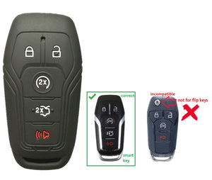 SILICONE 5 BUTTON SMART KEY FOB COVER REMOTE CASE JACKET FOR FORD & LINCOLN [SKU: FRDS5B]