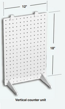 "Load image into Gallery viewer, Vertical 1-Sided Stationary Plastic Pegboard Counter Display Rack 12""W x 18""H"