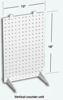 Vertical 1-Sided Stationary Plastic Pegboard Counter Display Rack 12