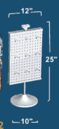 "Revolving 2-Sided Spinner Pegboard Counter Display 12""W x 25""H w/ Hooks"