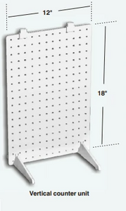 "Vertical 1-Sided Stationary Plastic Pegboard Counter Display Rack 12""W x 18""H"