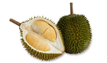 A picture containing the front and back of a sliced D24 durian