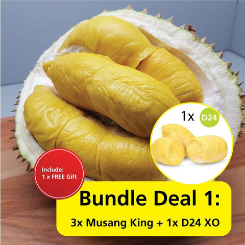 Durian Bundle Deal 1 : 3x Musang King + 1x D24 XO