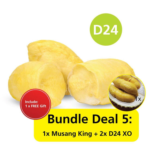 Durian Bundle Deal 5 : 1x Musang King + 2x D24 XO