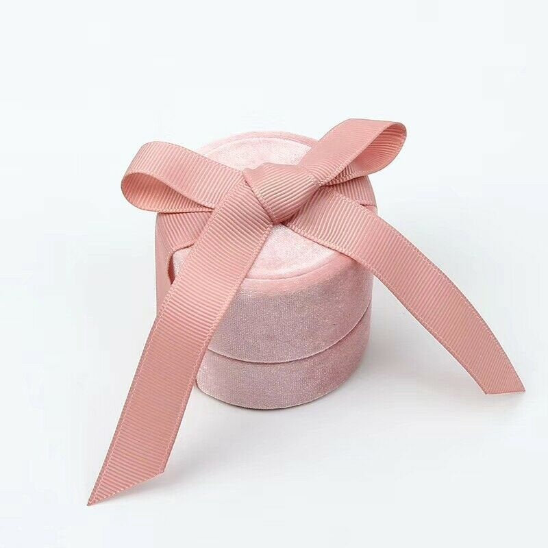 Velvet Ring Box With Elegant Silk Bow for Engagement Ring Pink Color Round Shape