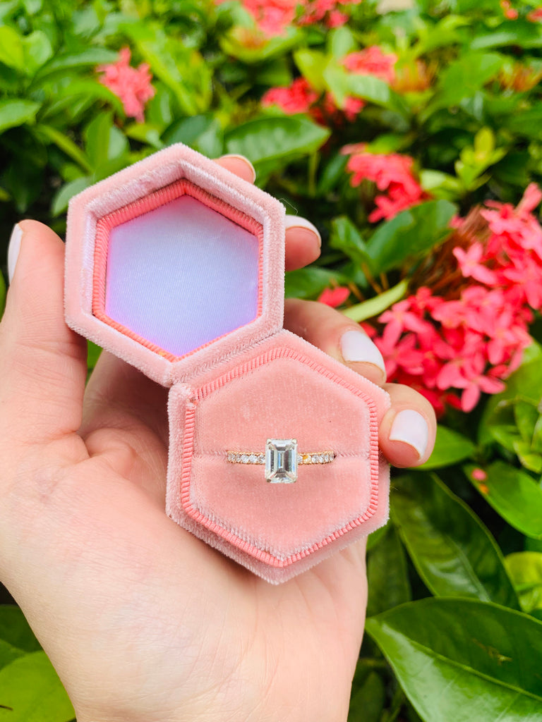 Two Hexagon Antique Style Velvet Ring Box Pink Blush and Green Single Slot For Engagement Ring and Wedding Day