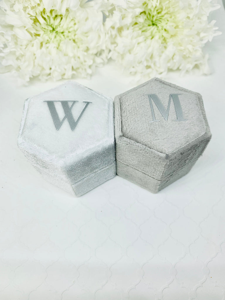 The Wedding Collection Velvet Ring box Hexagon Shape Double Slot for Engagement Ring and Wedding Ring