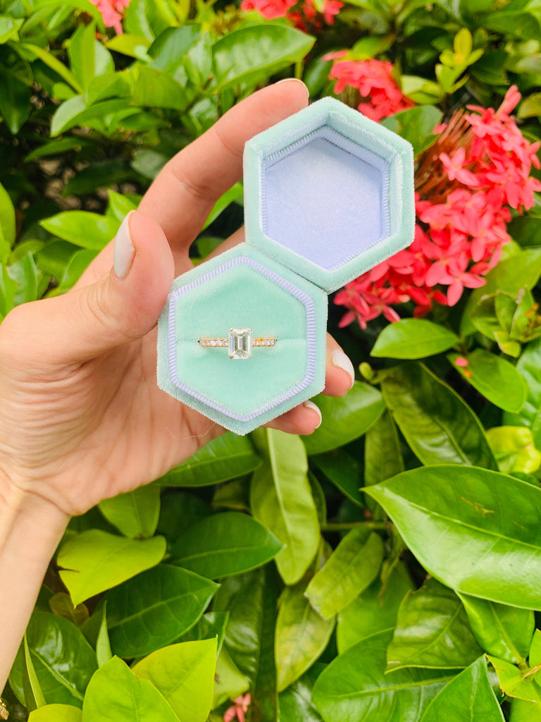Hexagon Green Velvet Ring Box  Single Slot for Engagement Ring Wedding and Photography Hand Made