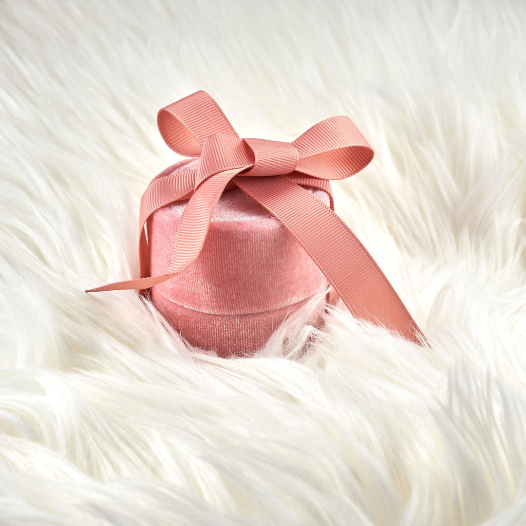 Velvet Pendant Box with Elegant Silk Bow Round Shape PInk Blush Great For Gift Storage and Pictures