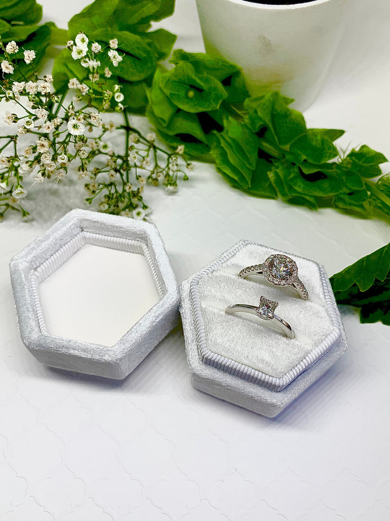 Monogram Velvet Ring Box Pearl White Hexagon Shape Double Slot for Engagement Ring and Wedding Ring Great For Pictures