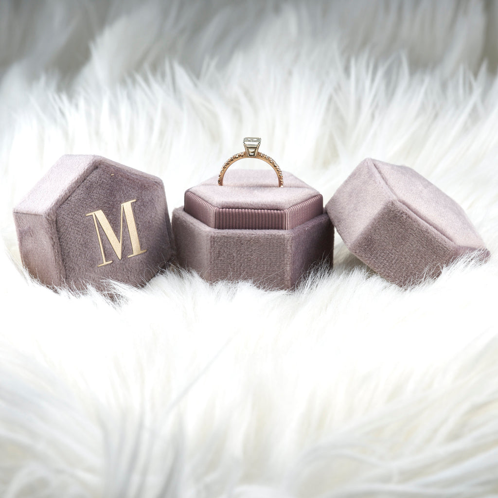 Monogram Single Slot Hexagon Velvet Ring Box  Engagement Ring & Wedding Set Elegant , Bridal Photo Detail Props, Ring Bearer, Graduate