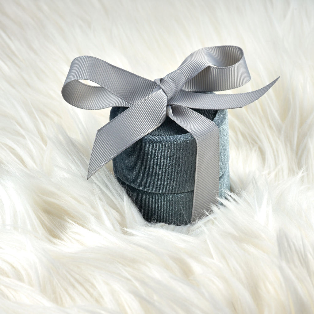 Dark Gray Round Single Slot Ring Box With Elegant Silk Bow for Engagement Ring and Wedding Set And Pictures