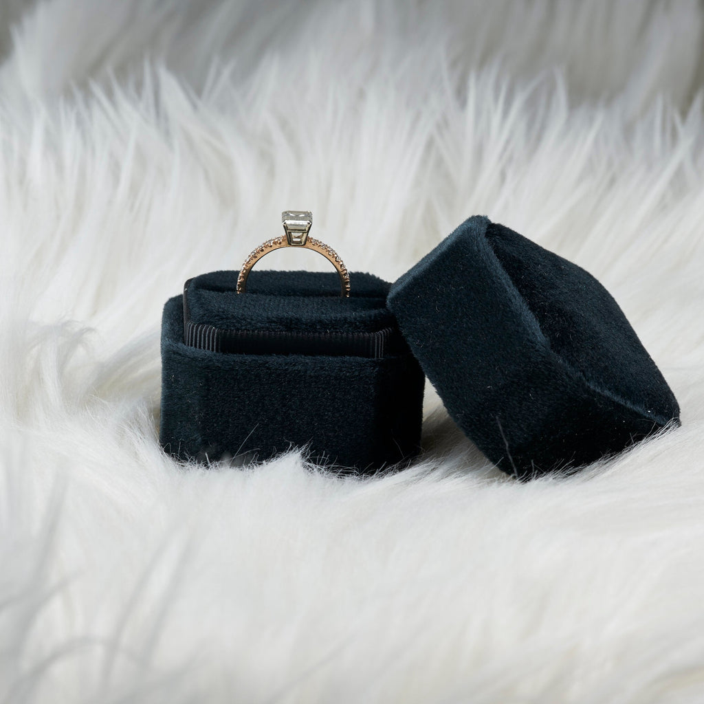 Black Velvet Ring Box Octagon Shape Single Or Double Slots For Engagement Ring and  Wedding Photos
