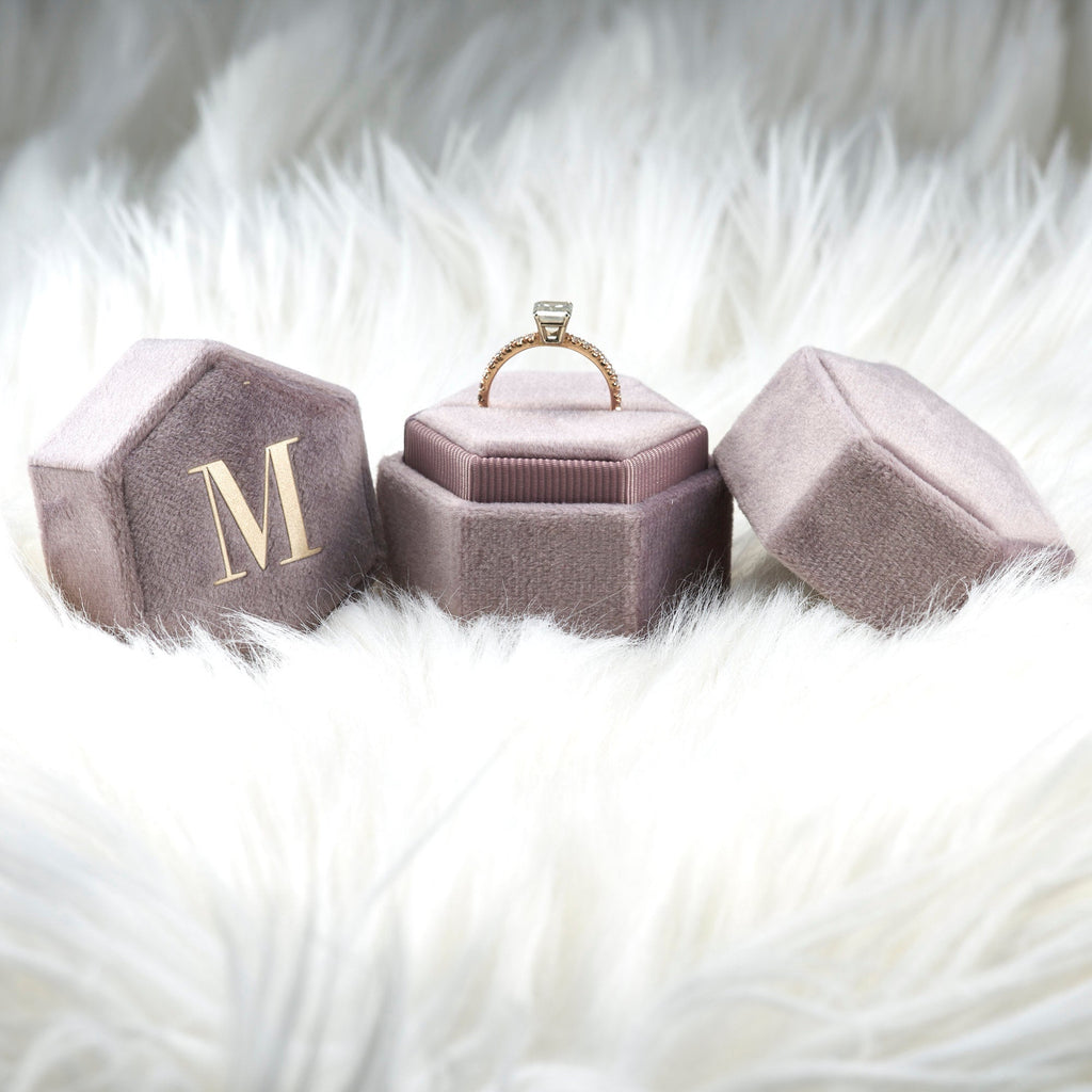 Antique Velvet Ring Box Monogram Lavender Purple Hexagon Shape Single And Double Slot for Engagement Ring and Wedding Ring