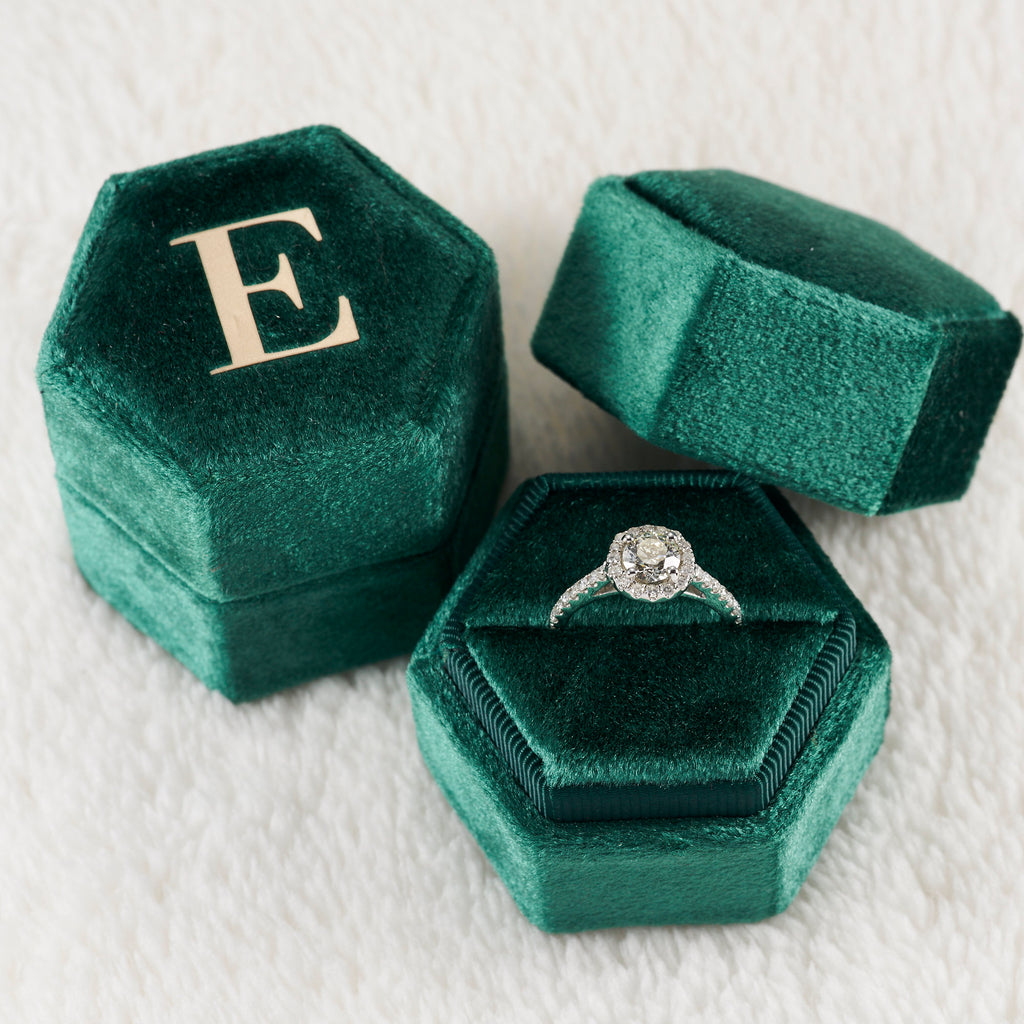 Green Hexagon Velvet Ring Box Single Slot for Graduation Engagement Ring, Bridal Photo Detail Props,Keepsake,Box Monogram Box Emerald Green