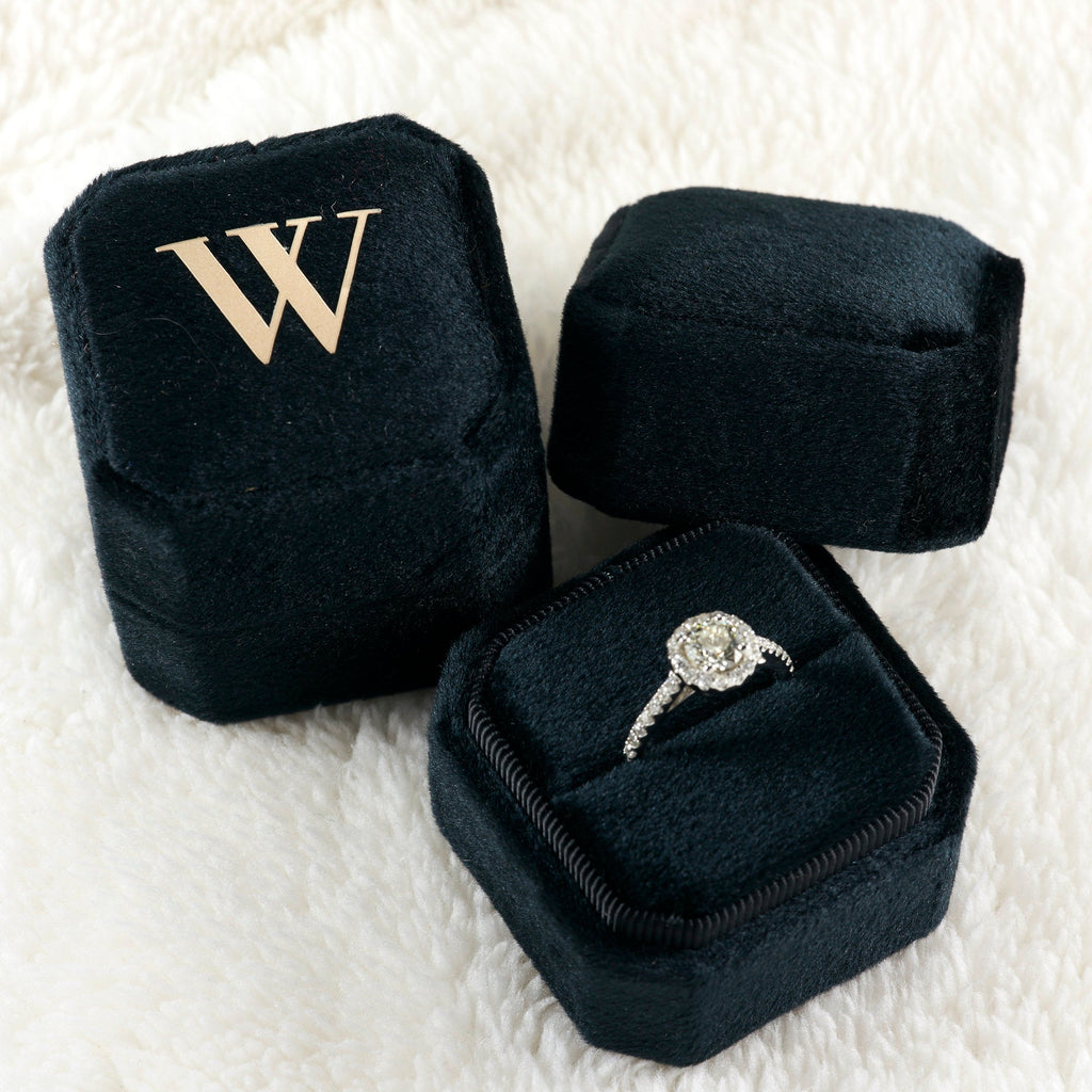 Black Velvet Single Ring Box Square Octagon for Proposal Engagement and  Photography