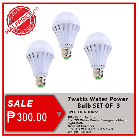 7-Watts Intelligent Water Power Bulb (Set of 3)