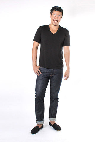 Mens V Neck T-Shirt - Black