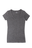 S/S V Neck T-Shirt - Dark Heather Grey