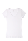 S/S V Neck T-Shirt - White