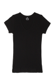 S/S V Neck T-Shirt - Black
