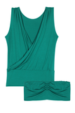 Drape Top with Bandeau Bra - Emerald