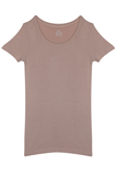 Fitted Round Neck T-Shirt - Tan