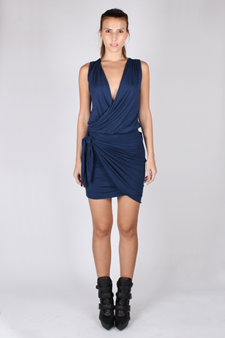 Drape Top with Bandeau Bra - Navy