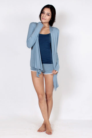 Draped Cardigan - Sky Blue
