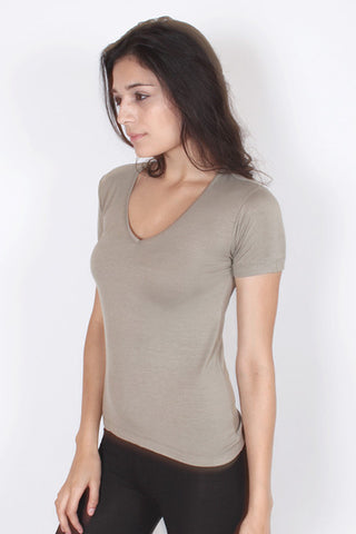 V-Neck T-Shirt - Khaki