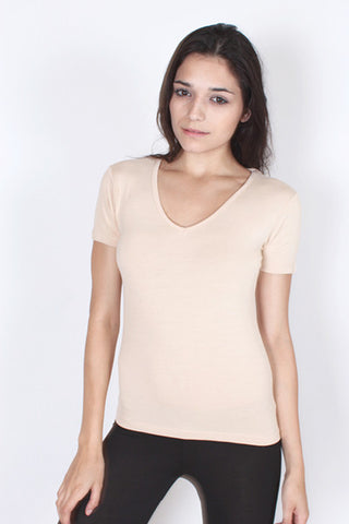 V-Neck T-Shirt - Sand Nude