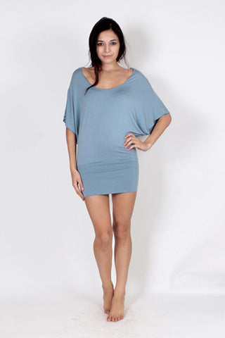 Batwing Tunic Top - Sky Blue
