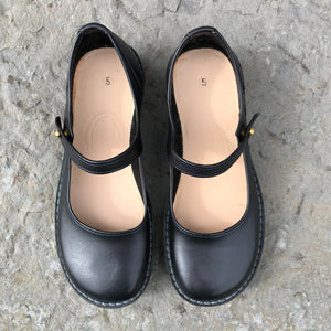 Handmade Mary Jane Style Leather Shoes - Black - Craft Shop Bantry
