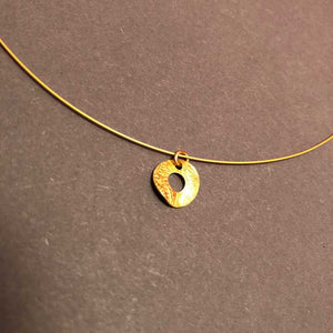 Delicate Gold Etched Disc Necklace
