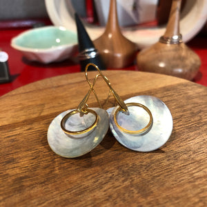 Shelly's Gold Circle and Shell Earrings