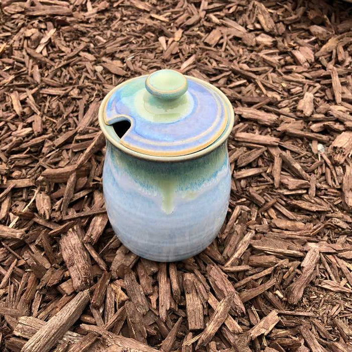 Blue and Jade Lidded Pot by Rosemarie Durr