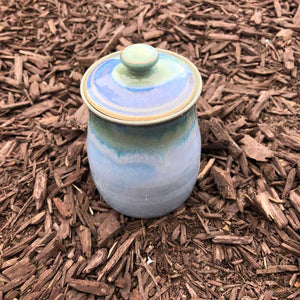 Blue and Jade Lidded Pot by Rosemarie Durr - Craft Shop Bantry
