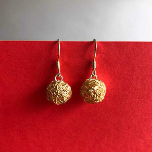 Gold Wire, Tangled Drop Earrings - Craft Shop Bantry