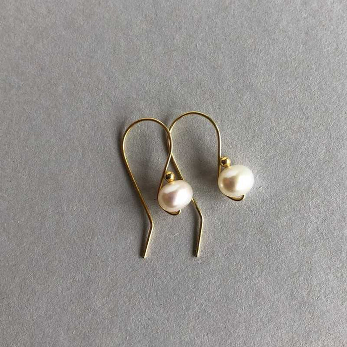 Laura's Pearl and Gold Wire Drop Earrings