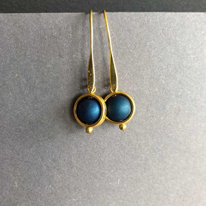 Gold and Cobalt Blue Ball Earrings - Craft Shop Bantry