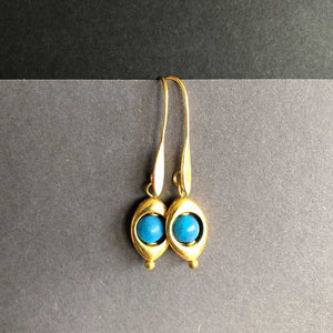 Gold plated Teardrop and Jade Earrings - Craft Shop Bantry