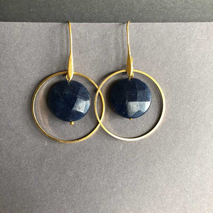 Oliva's Navy and Gold Circle Earrings