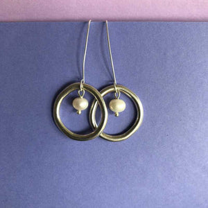 Irregular Circle Earrings, with or without Pearl - Craft Shop Bantry